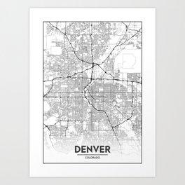 Minimal City Maps - Map Of Denver, Colorado, United States Art Print