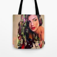 pin up Tote Bags featuring Pin Up by Joe Ganech