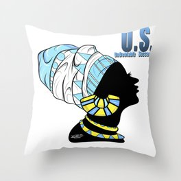BlackQueen (Blue) Throw Pillow