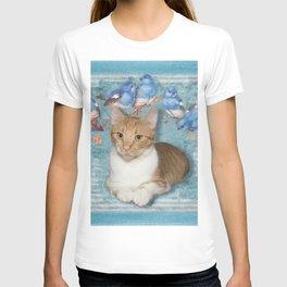Cat and Blue Birds T-shirt