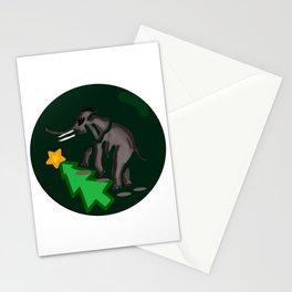 Elephant Steps Over Christmas tree Stationery Cards