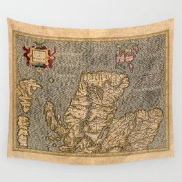 Vintage Map of Scotland Wall Tapestry