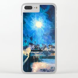 FULL MOON OVER SAN CLEMENTE PIER Clear iPhone Case