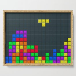 Retro Blocks Video Game Pattern Serving Tray