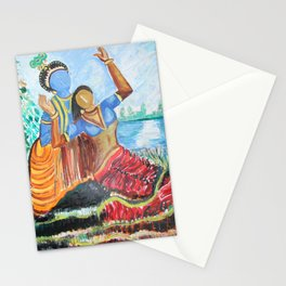 lord krishna on river with radha Stationery Cards