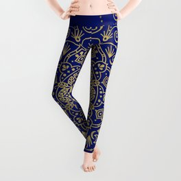 Moroccan Mandala – Gold Ink on Navy Leggings