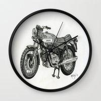 motorbike Wall Clocks featuring Stippled Motorbike  by Rachael Kotvojs