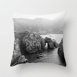 Ocean Arches | Black and White Nature Landscape Photography in California Throw Pillow