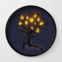 yellow Wall Clocks featuring Dream Guide by Freeminds
