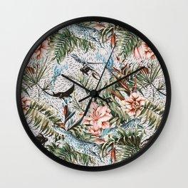 Paradisiacal flora and fauna Wall Clock