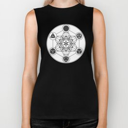 Metatron's Cube with Platonic Solids and Seed of Life Biker Tank
