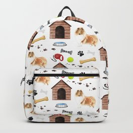 Rough Collie Dog Half Drop Repeat Pattern Backpack