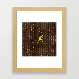 Golden Egyptian Sphinx and hieroglyphics on wood Framed Art Print