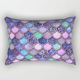 Colorful Pink & Purple Watercolor & Glitter Mermaid Scales Rectangular Pillow