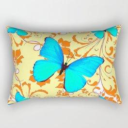 DECORATIVE BLUE BUTTERFLIES YELLOW FLORAL PATTERN Rectangular Pillow