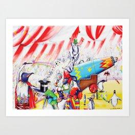 Circus Penguins Art Print