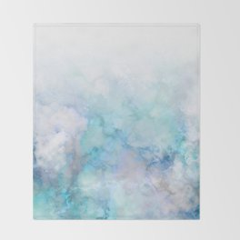 Fresh Blue and Aqua Ombre Frozen Marble Throw Blanket