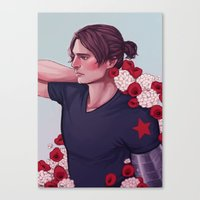 bucky barnes Canvas Prints featuring Flowers: Bucky Barnes by Isabel Inadomi
