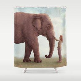 One Amazing Elephant - Back Cover Art Shower Curtain