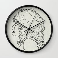 dolly parton Wall Clocks featuring Dolly Parton Embroidery by Little Stabs