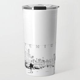 Venice Beach Mosaic Pen and Ink B&W Travel Mug