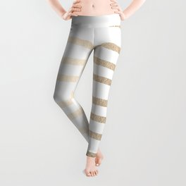Simply Drawn Stripes in White Gold Sands Leggings
