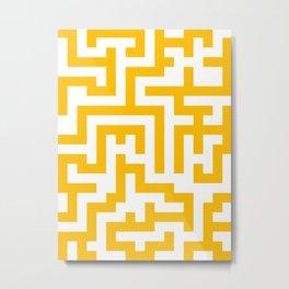 White and Amber Orange Labyrinth Metal Print