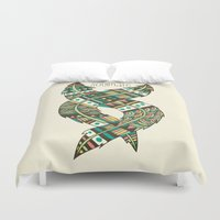 feathers Duvet Covers featuring Soulmate Feathers by Pom Graphic Design