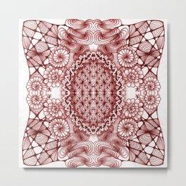 Burgundy Zentangle Tile Doodle Design Metal Print