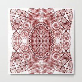 Burgundy Zentangle Tile Doodle Design Metal Print