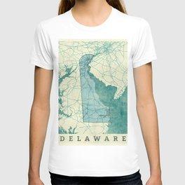 Delaware State Map Blue Vintage T-shirt