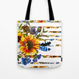 Hand painted yellow orange blue watercolor sunflower pattern Tote Bag