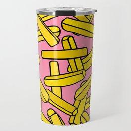 French Fries on Pink Travel Mug