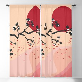 Cherry Blossoms Contemporary Abstract Blackout Curtain
