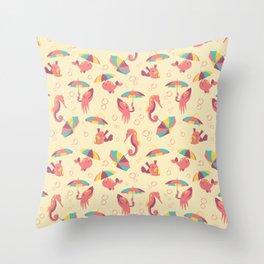 A Chance of Rain - Coral & Cream Throw Pillow