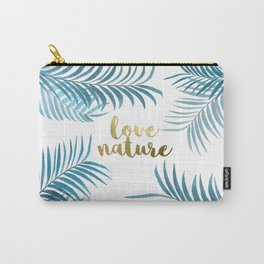 Blue Palm Leaves Carry-All Pouch