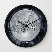 i love you to the moon and back Wall Clocks featuring I love you to the Moon & back by Pixels and Paper
