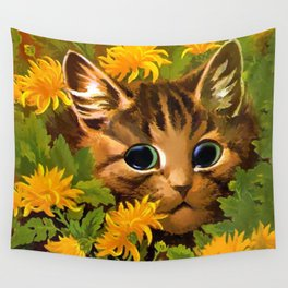 """Louis Wain's Cats """"Tabby in the Marigolds"""" Wall Tapestry"""