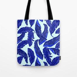 Banana leaves tropical leaves blue white #homedecor Tote Bag