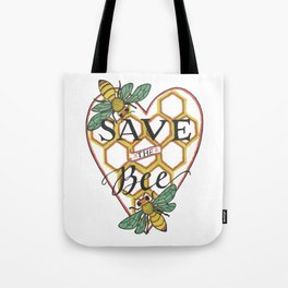 Save the Bee   Honeycomb Heart Honeybees Tote Bag