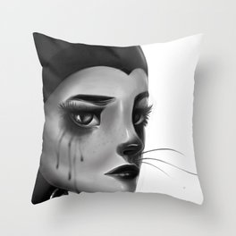 Crying Cat Woman Throw Pillow