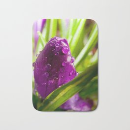Purple Rain on Green Crocus Bloom Bath Mat