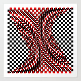 black white red 4 Art Print