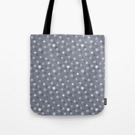 Snowflakes - White on Grey Tote Bag
