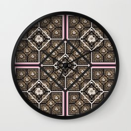Cherokee Rose Pattern 2 black brown pink Wall Clock