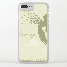 girl with butterflies in a jump Clear iPhone Case
