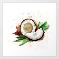 coconut wishes Art Prints featuring coconut by Zazie-bulles