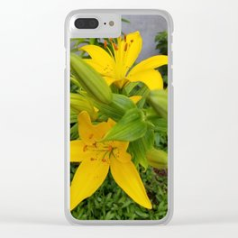 Yellow Lilies Clear iPhone Case