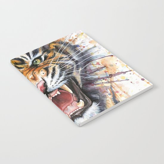 Tiger Watercolor Wild Animal Jungle Animals Notebook