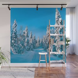 Norway Photography - Snowy Trail Through Snowy Trees Wall Mural